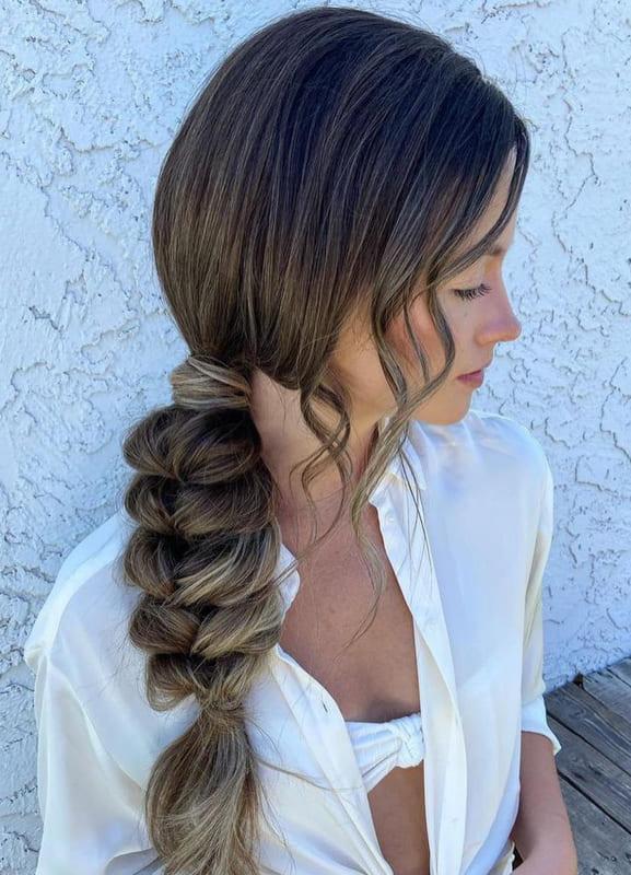 Long side braided wedding hair