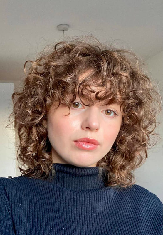 Lovely short curly hairstyles with bangs