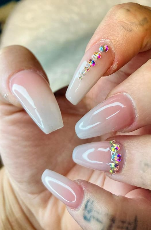 Nude and coffin ombre nails