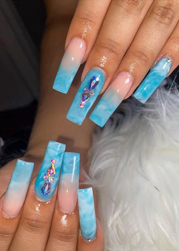 Ocean wave blue ombre nails