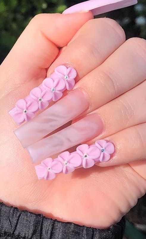 Pink with flowers ombre nails