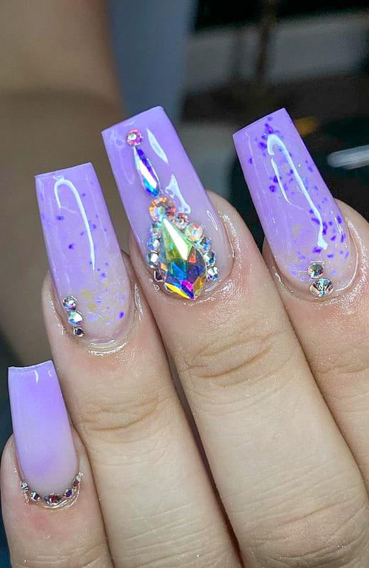 Purple color glitter ombre nails