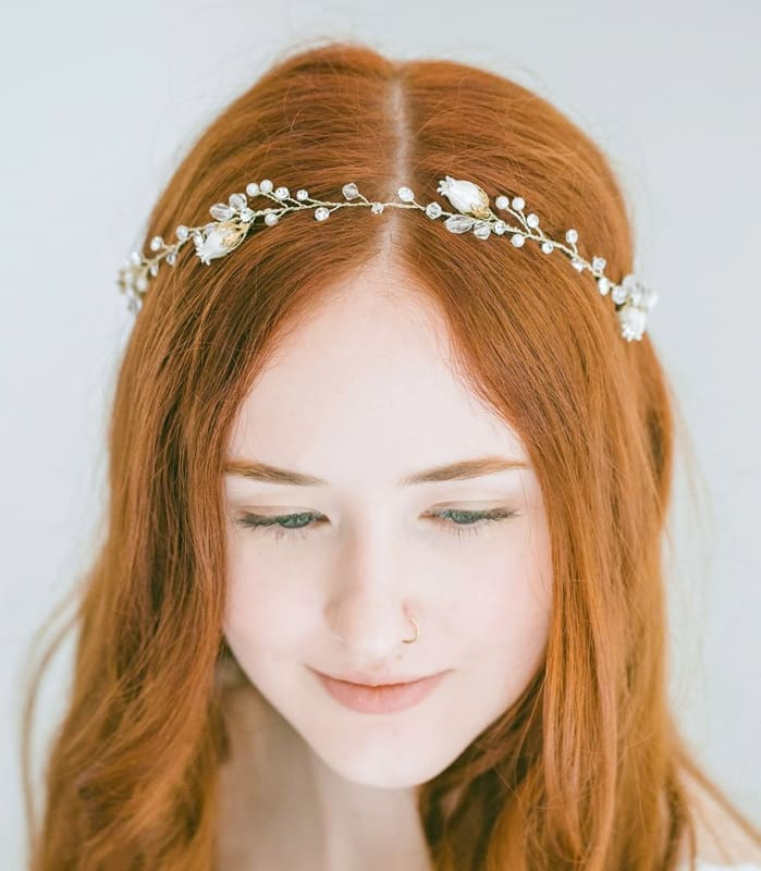 Red natural long wedding hair