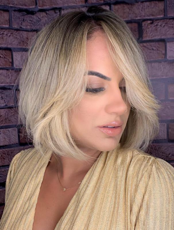 Short bob side bangs blonde hair