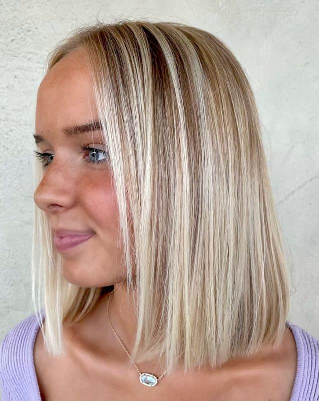 Short bob straight blonde ombre hair