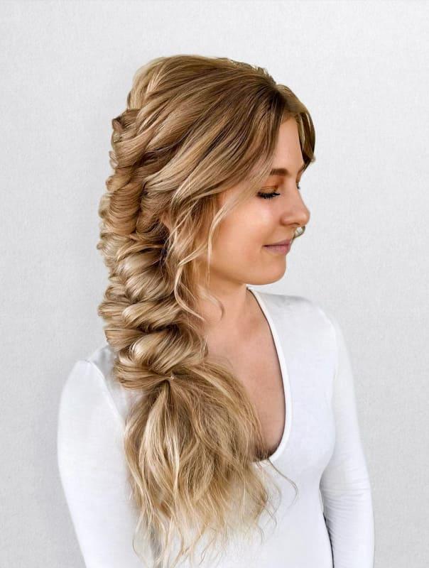 Side fishtail braided wedding long hair