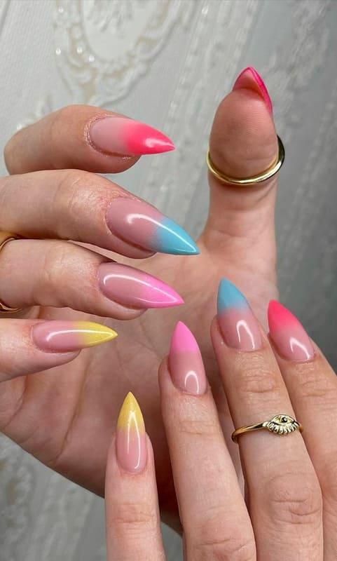 Stiletto colorful ombre nails