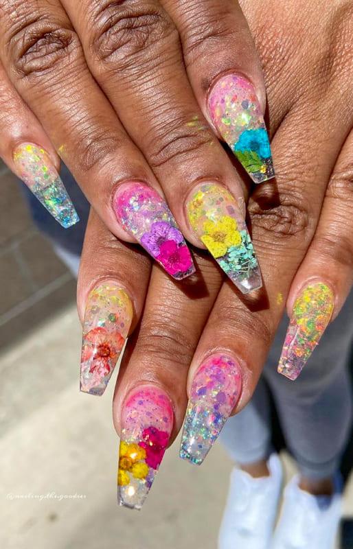 Summer colors long ombre nails