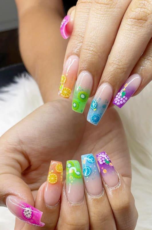 Summer colors ombre nails
