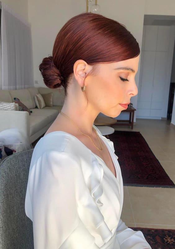 long red bun wedding hair