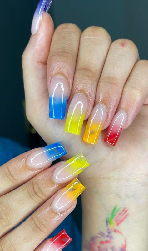 Amazing Colorful ombre nails
