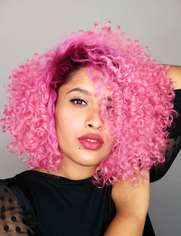 pink short curly hairstyles for black women