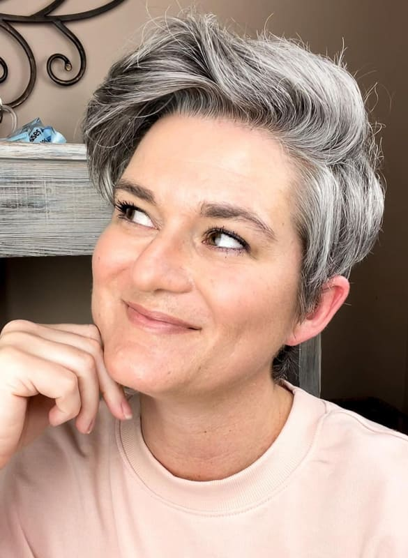 short side bang pixie grey hairstyles