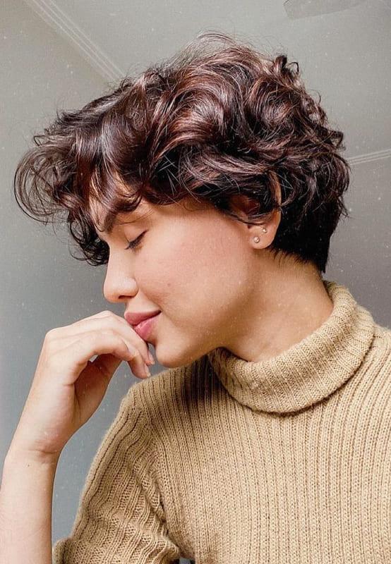 shurt curly sidebang bob hairstyles