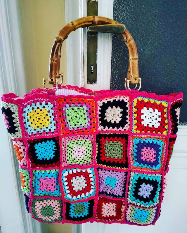 Colorful granny square bag