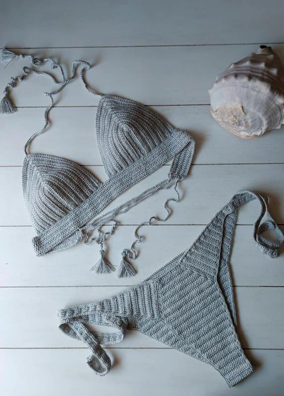 Dark grey crochet bikini
