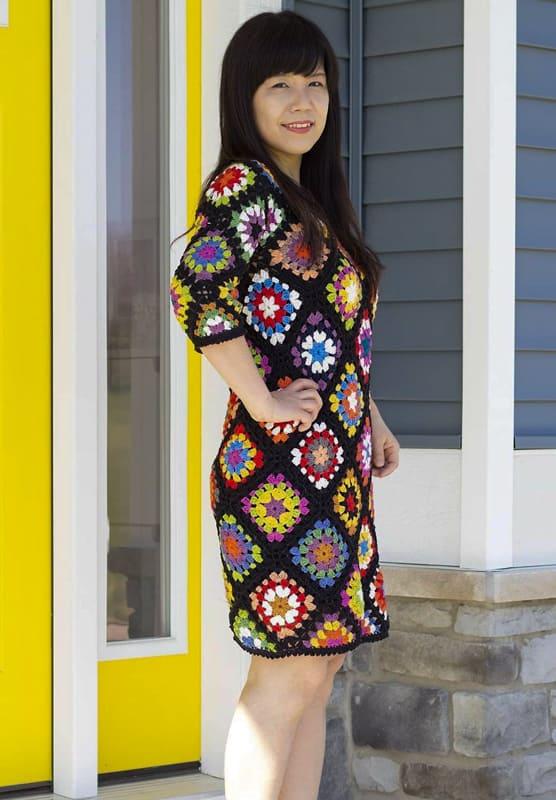 Easy granny square dress for women