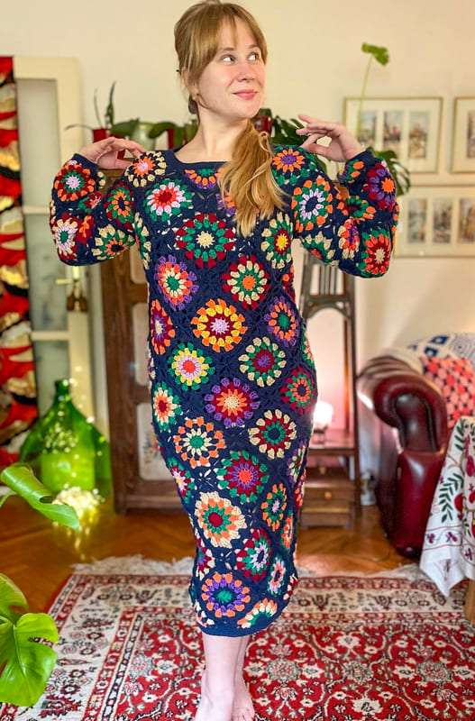 Long arms granny square dress