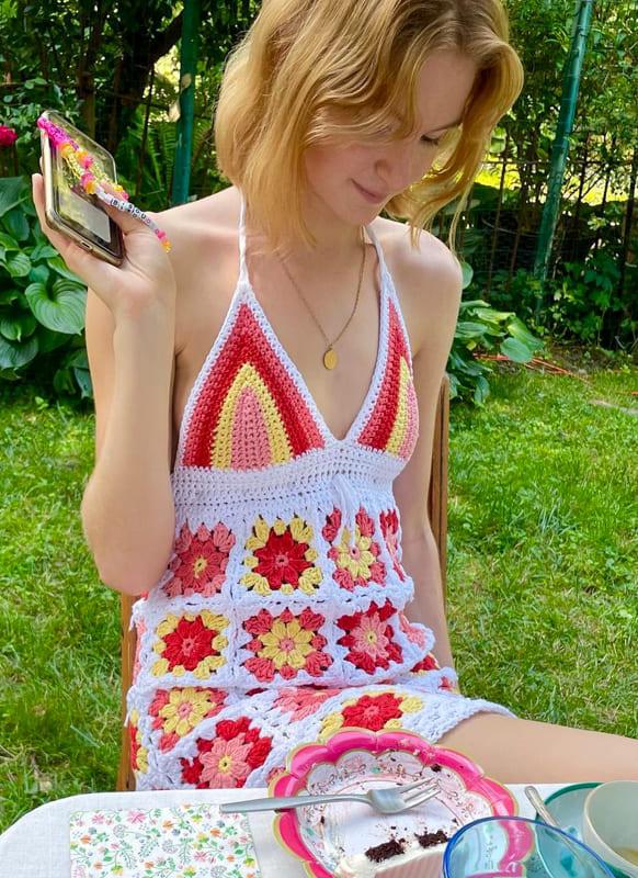 Summer granny square dress