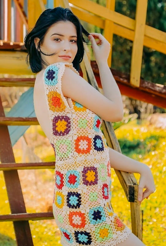 Summer white granny square dress