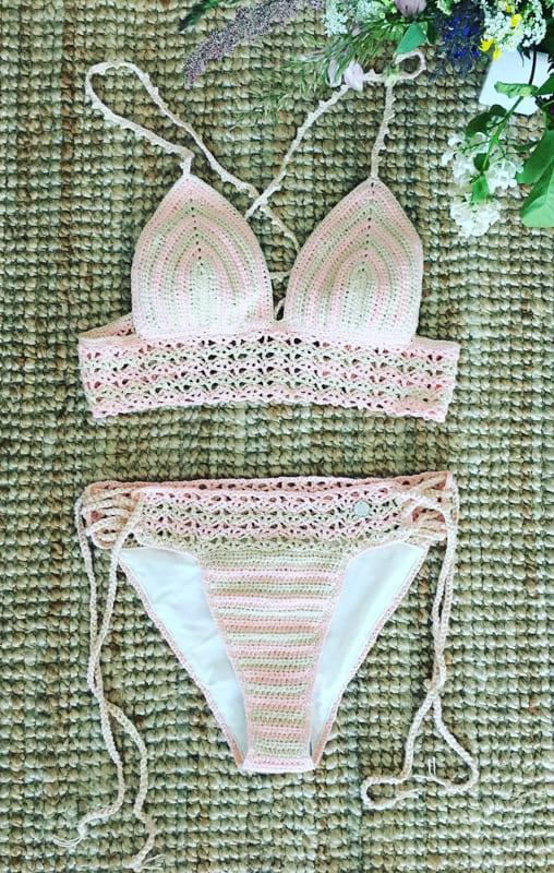 awesome pink and white crochet bikini
