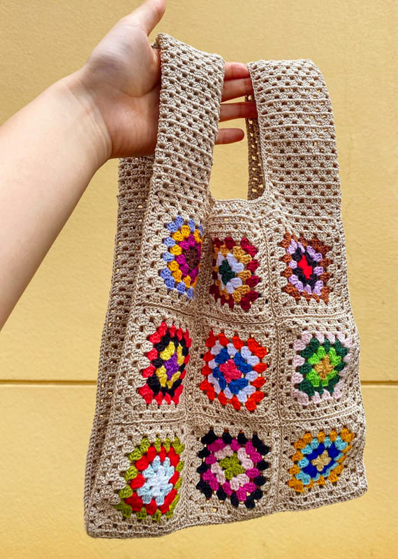 cream and other colors granny square crochet bag