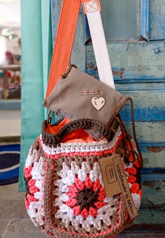orange and brown granny square crochet bag