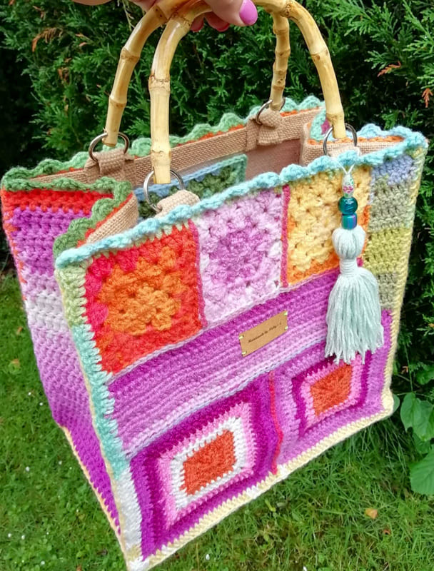 pink and soft colors granny square crochet bag