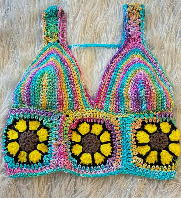 rainbow with flower crochet bikini