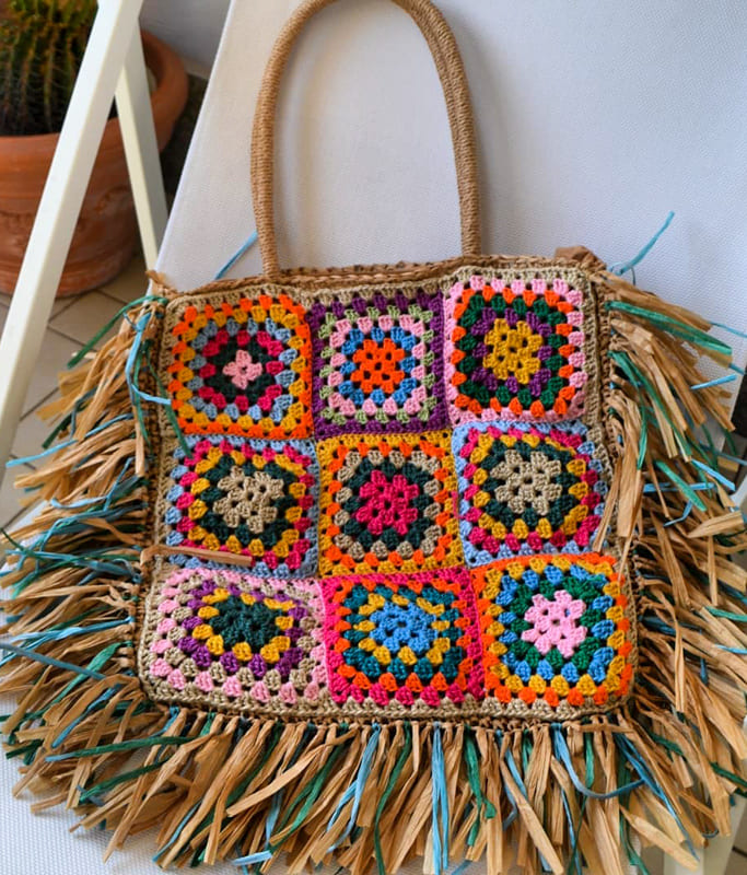 yarn granny square crochet bag