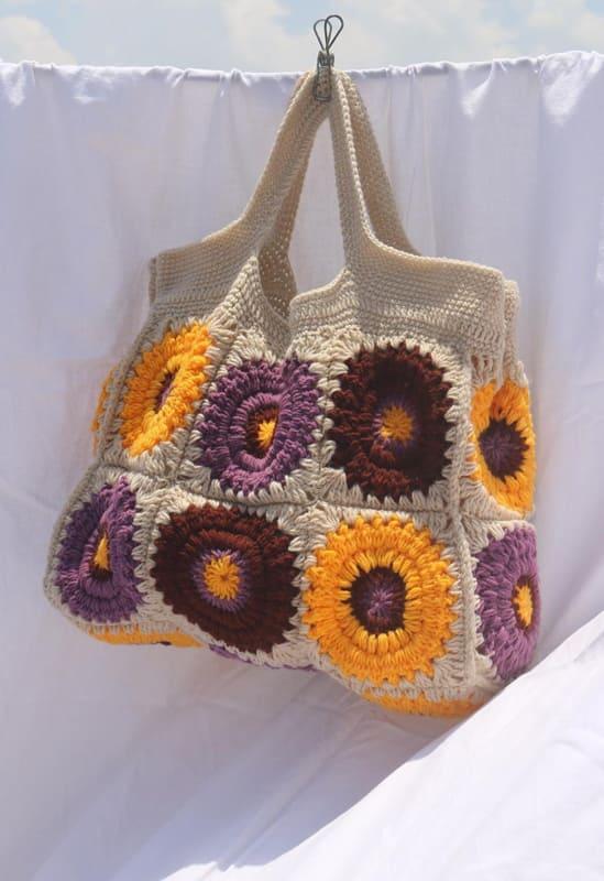 yellow and cream granny square crochet bag