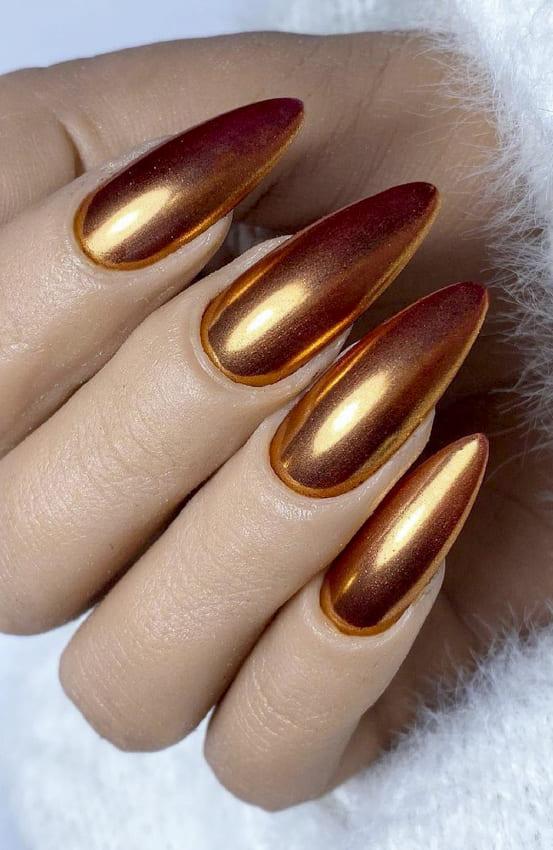 Gold Metallic Nail Polish Designs