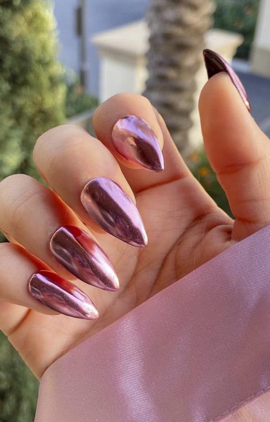 Pink metallic nail polish
