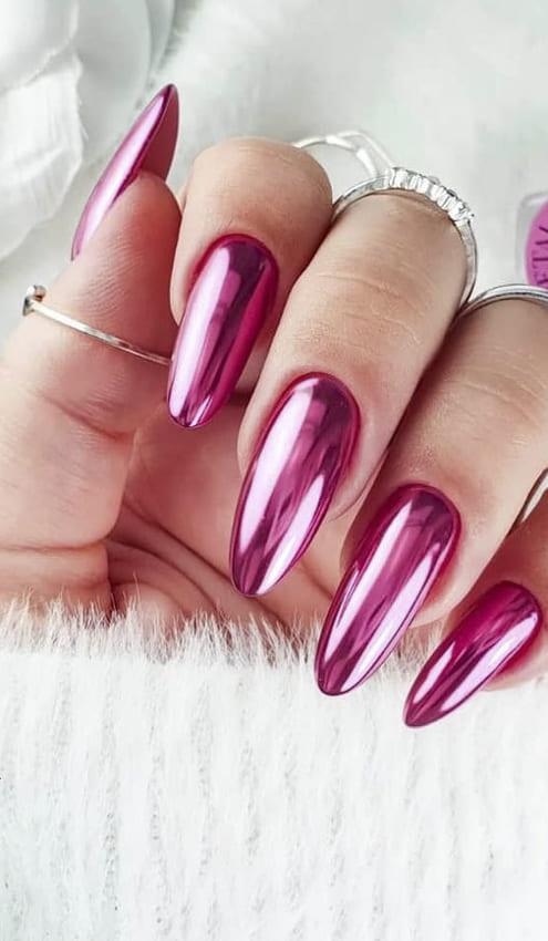 Pink metallic nails