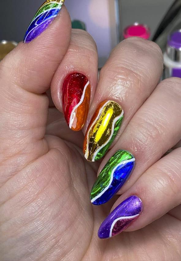 Rainbow metallic nails