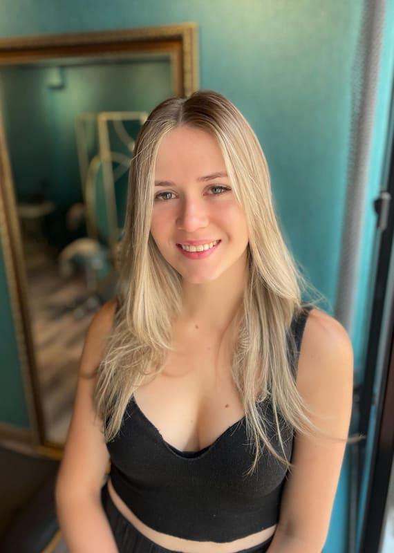 Ash blonde hair balayage