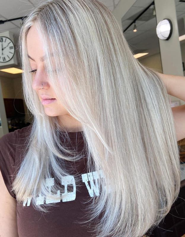 Pale ash blonde hair