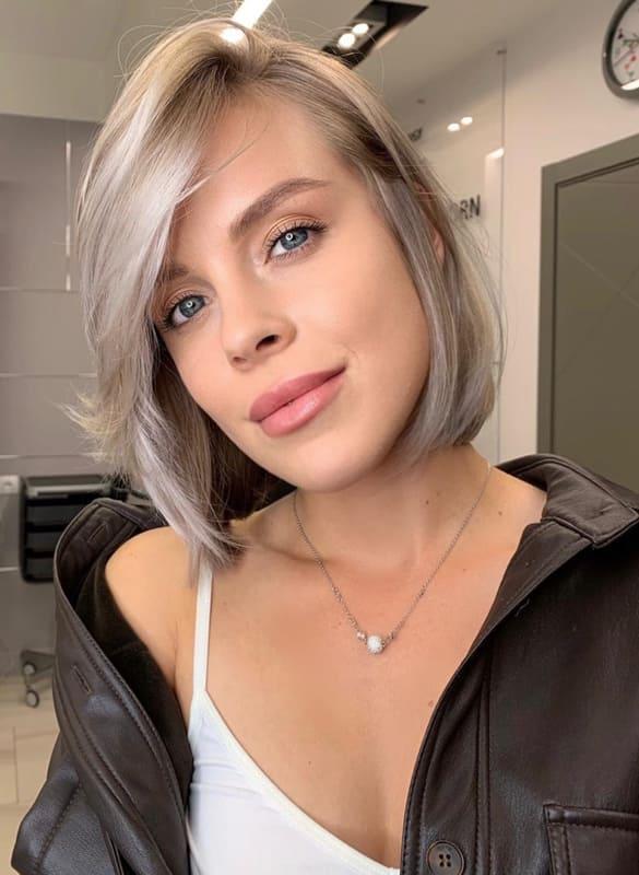 Short ash blonde hair