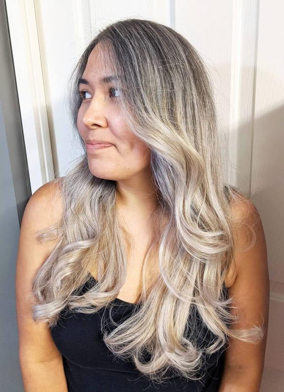 Silver ash blonde hair