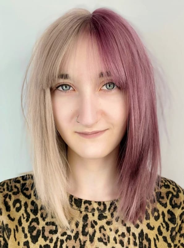 Blonde and purple hair