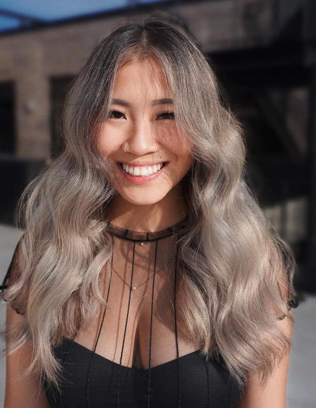 long layered assian Ash Blonde Hair Ideas for Women