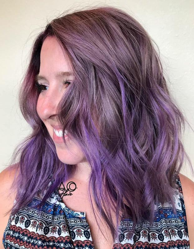 Metallic purple hair