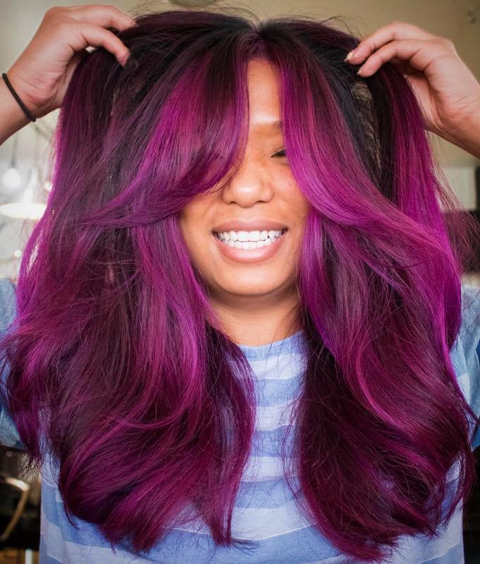 Permanent purple hair