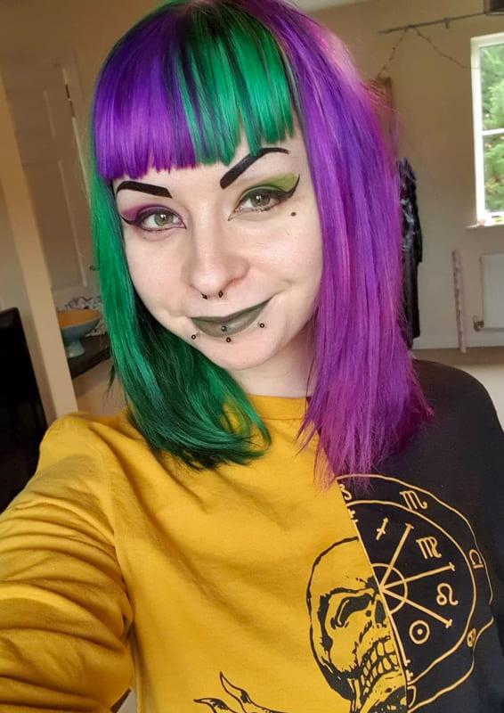Purple and green hair