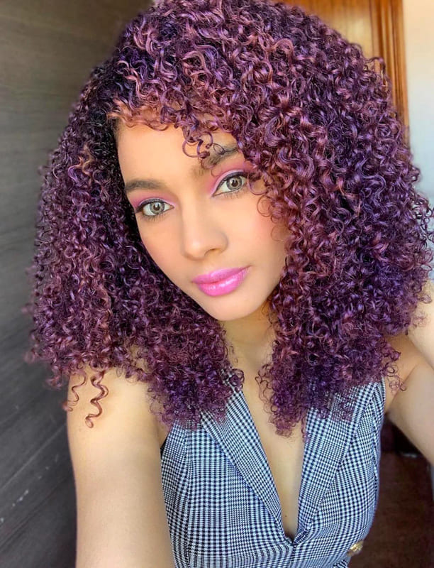 Purple curly hair