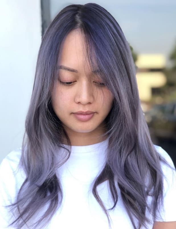 Silver and purple hair
