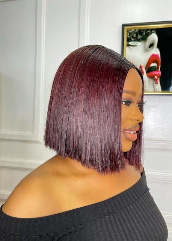 African american short bob burgundy hair