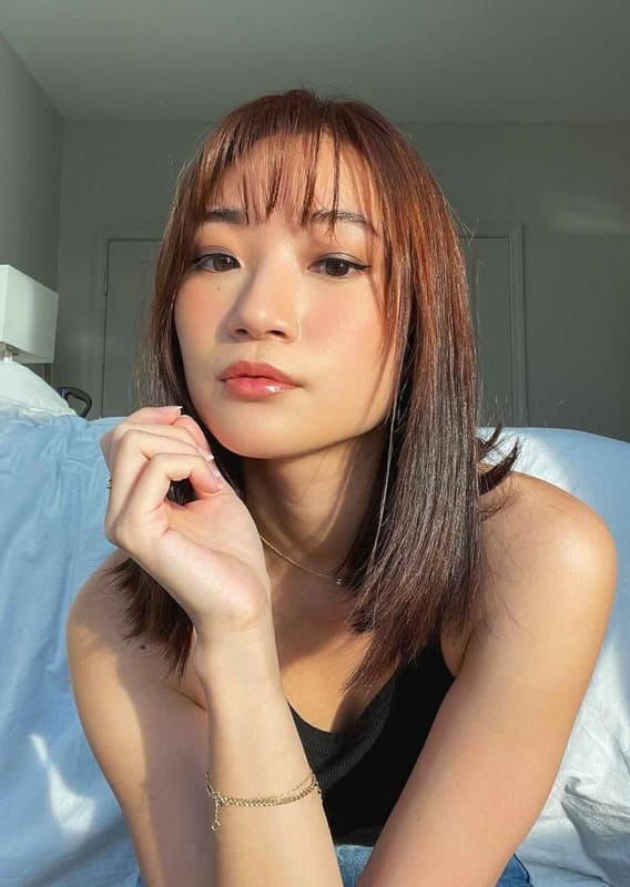 Asian chestnut brown hair