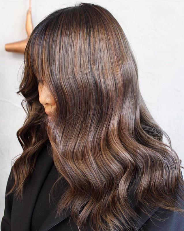 Dark chestnut brown hair