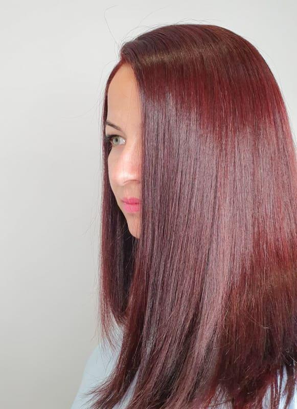 Medium straight burgundy hair